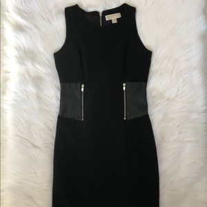 Michael Kors Black Dress with Leather Inserts